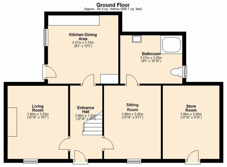 Ground floor plan of farmhouse at Driminidy Drimoleague West Cork